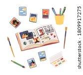 hobby or art set with travel... | Shutterstock .eps vector #1809917275