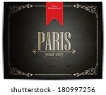 paris lettering over vintage... | Shutterstock .eps vector #180997256
