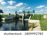 Water Dam On A River. Water...