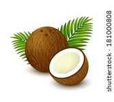 whole coconut with piece and... | Shutterstock .eps vector #181000808