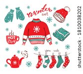 cozy hand drawn winter set on... | Shutterstock .eps vector #1810038202