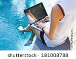 woman working on her laptop... | Shutterstock . vector #181008788
