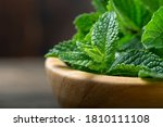 Green Fresh Mint On The Wooden...