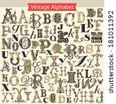 vintage alphabet  | Shutterstock .eps vector #181011392