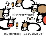 new year's card of cow's party | Shutterstock .eps vector #1810152505