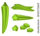 okra vector cartoon... | Shutterstock .eps vector #1810172665