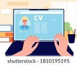 online cv. young man writing... | Shutterstock .eps vector #1810195195