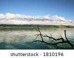 Beautiful mountains and lake in nz - stock photo