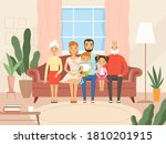 big family. mother father kids...   Shutterstock .eps vector #1810201915