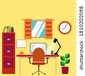 office desk set up graphic...   Shutterstock . vector #1810202098