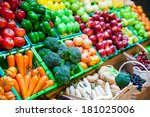 vegetable and fruits at a... | Shutterstock . vector #181025006