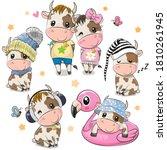 set of cute cartoon bulls... | Shutterstock .eps vector #1810261945