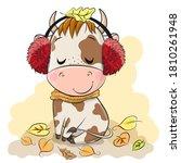 cute cartoon bull with fur... | Shutterstock .eps vector #1810261948