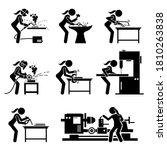 female metal worker making iron ... | Shutterstock .eps vector #1810263838