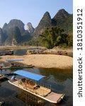 Boats Moored On The Li River...