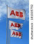 Small photo of TURKU, FINLAND - MARCH 8, 2014: ABB flags against blue sky. The ABB board of Directors will propose Finnish Matti Alahuhta as a new board member at the company's next annual general meeting (AGM).