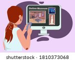 virtual museum in modern laptop.... | Shutterstock .eps vector #1810373068