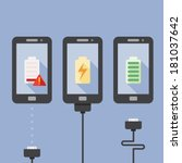 mobile phone charging with icons | Shutterstock .eps vector #181037642