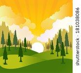 green landscape vector... | Shutterstock .eps vector #181038086