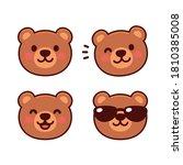 Cute Cartoon Bear Face Set ...