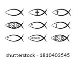 set of jesus fish icons ... | Shutterstock .eps vector #1810403545