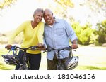 senior couple on cycle ride in... | Shutterstock . vector #181046156