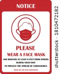mask sign. wear face mask sign. ... | Shutterstock .eps vector #1810472182