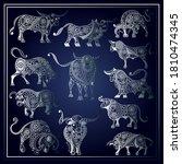 white metal ox symbol of 2021....   Shutterstock .eps vector #1810474345