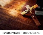 Jesus\'s Crucifix Over Bible On...