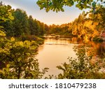 Small Forest River At Sunset In ...