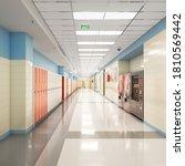 long school corridor with white ... | Shutterstock . vector #1810569442