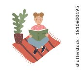 a girl is reading a book on the ... | Shutterstock .eps vector #1810600195