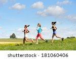 female friends running downhill ...   Shutterstock . vector #181060406