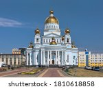 Small photo of Cathedral of St. Theodore Ushakov in Saransk, Russia. It is named for Russian saint and admiral Fyodor Ushakov. Text above the entrance reads: Cathedral of the Holy Righteous Warrior Theodore Ushakov.