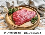 Raw Flat Iron Steak On A...