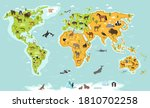 animal world map. continent ... | Shutterstock .eps vector #1810702258