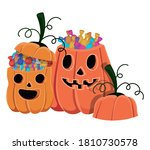 halloween pumpkins cartoons... | Shutterstock .eps vector #1810730578