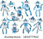 sock monkeys   blue | Shutterstock .eps vector #181077962