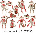 sock monkeys   red | Shutterstock .eps vector #181077965