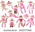 sock monkeys   pink | Shutterstock .eps vector #181077968