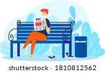 man read newspaper in park ... | Shutterstock .eps vector #1810812562