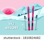 ski resort. vector illustration ... | Shutterstock .eps vector #1810824682