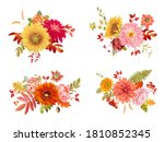 watercolor vector autumn... | Shutterstock .eps vector #1810852345