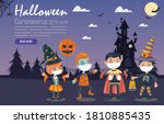 kids costumes with medical mask ... | Shutterstock .eps vector #1810885435