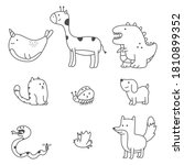 cute doodle animals vector... | Shutterstock .eps vector #1810899352