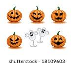 pumpkins icon set   Shutterstock .eps vector #18109603