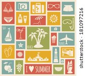 summer holiday card with flat... | Shutterstock . vector #181097216