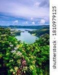 Small photo of The Astonishing Lagoon Of The Seven Cities (Lagoa Das 7 Cidades), In Sao Miguel Azores, Portugal. Lagoon of the Seven Cities, Sao Miguel island, Azores. Ocean, aerial. Sao Miguel, Azores, Portugal.