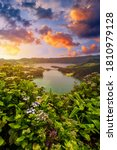 """Small photo of Beautiful view of Seven Cities Lake """"Lagoa das Sete Cidades"""" from Vista do Rei viewpoint in Sao Miguel Island, Azores, Portugal. Lagoon of the Seven Cities, Sao Miguel island, Azores, Portugal."""