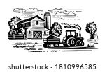 farm with trees and tractor... | Shutterstock .eps vector #1810996585